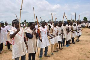 Some of the inducted hunters into Borno vigilantes to protect farmers