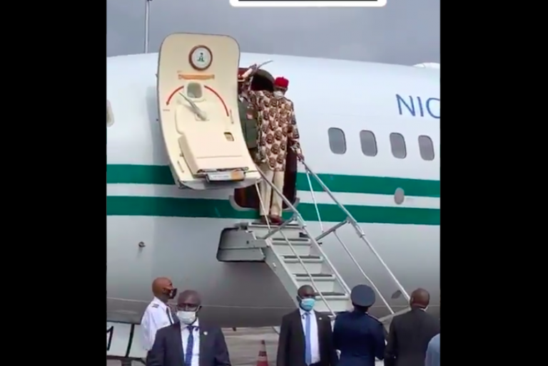 Buhari arriving owerri, Imo State capital for a one day official visit.