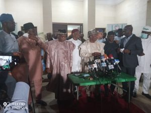 Bauchi and Sokoto States Governor preparing to brief journalists after their night meeting in Abuja.